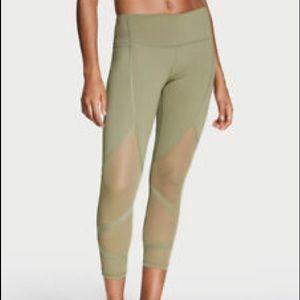 Victoria's Secret Sport Green Mesh Cropped Legging
